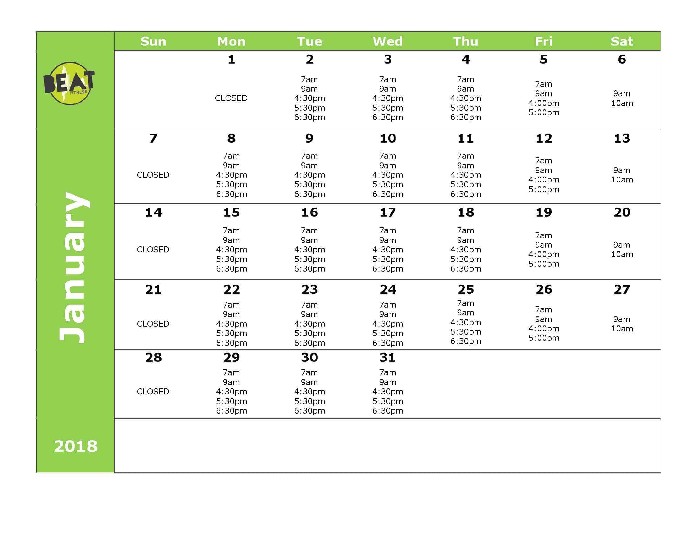 Calendar Beat Fitnessbeat Fitness
